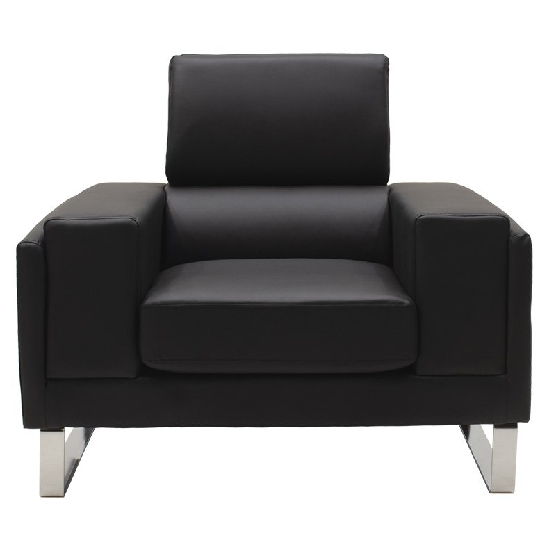 Πολυθρόνα Shea pakoworld pu μαύρο-inox 104x80x87εκ