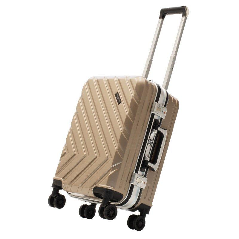 Βαλίτσα καμπίνας Deluxe pakoworld με 4 ρόδες σκληρή από ABS+PC σαμπανιζέ 38x26x58εκ