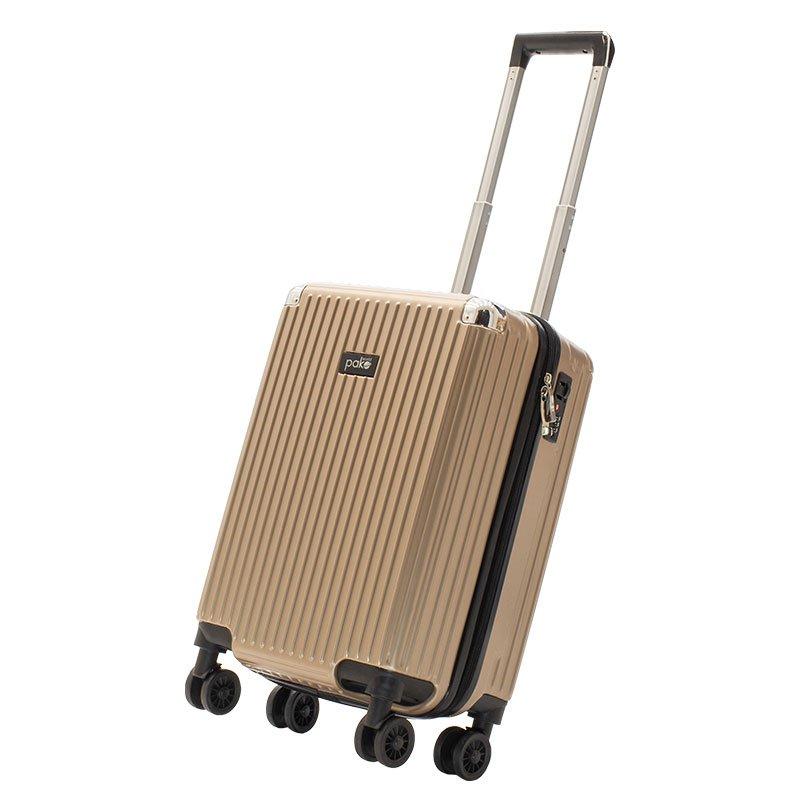 Βαλίτσα καμπίνας Venezia pakoworld με 4 ρόδες σκληρή από ABS+PC σαμπανιζέ 36,5x25x57,5εκ