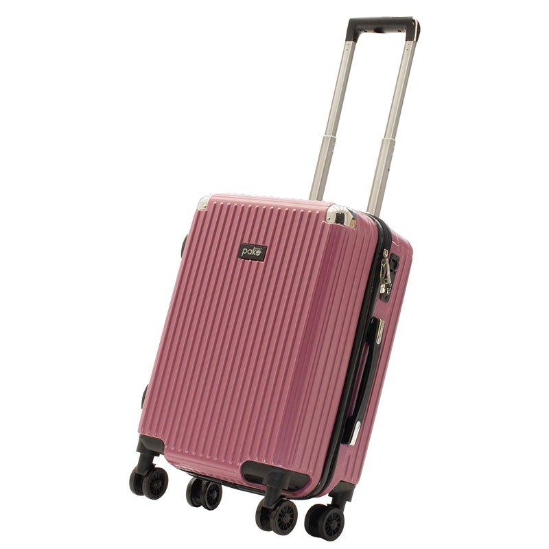 Βαλίτσα καμπίνας Venezia pakoworld με 4 ρόδες σκληρή από ABS+PC ροζ 36,5x25x57,5εκ