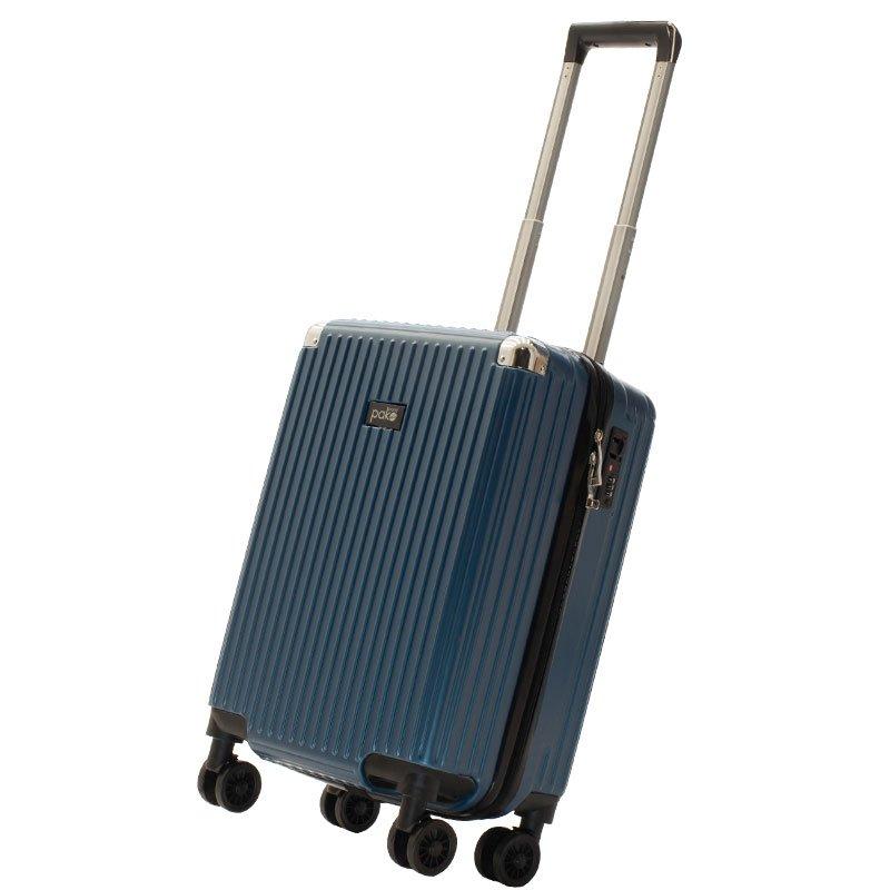 Βαλίτσα καμπίνας Venezia pakoworld με 4 ρόδες σκληρή από ABS+PC μπλε 36,5x25x57,5εκ
