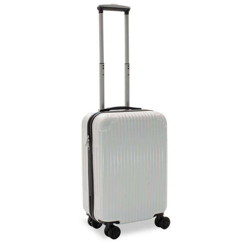 Βαλίτσα καμπίνας Lido pakoworld με 4 ρόδες σκληρή από ABS+PC λευκό 35x23x56εκ
