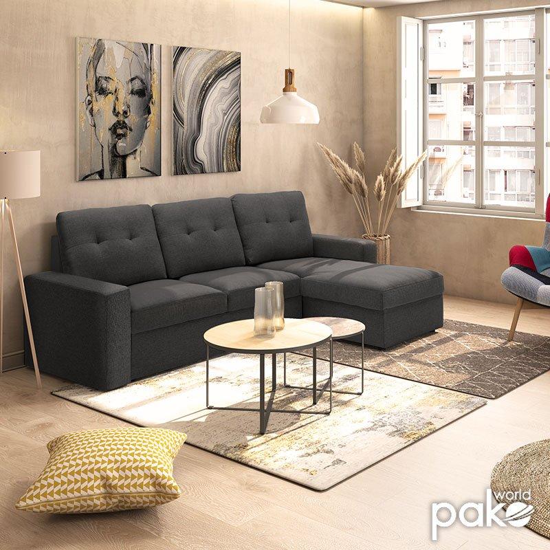 Γωνιακός καναπές κρεβάτι Berlin pakoworld αναστρέψιμος με ανθρακί ύφασμα