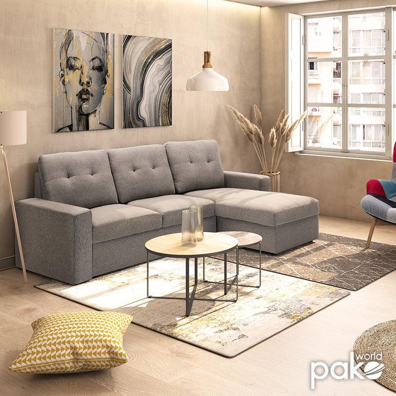 Γωνιακός καναπές κρεβάτι Berlin pakoworld αναστρέψιμος με γκρι ύφασμα