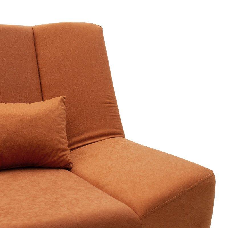 Καναπές-κρεβάτι Tiko pakoworld 3θέσιος με αποθηκευτικό χώρο ύφασμα κεραμιδί