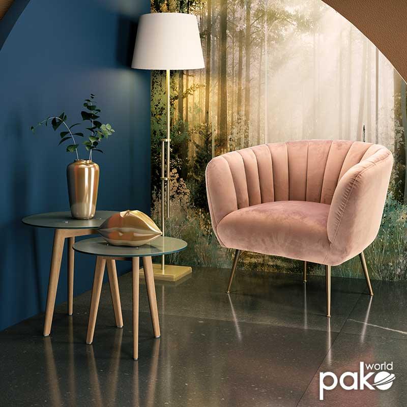 Πολυθρόνα Poison pakoworld με βελούδο χρώμα σάπιο μήλο 78x71x69εκ