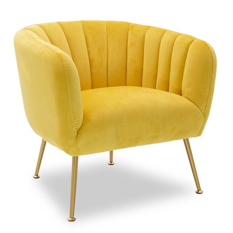 Πολυθρόνα Poison pakoworld με βελούδο χρώμα κίτρινο 78x71x69εκ