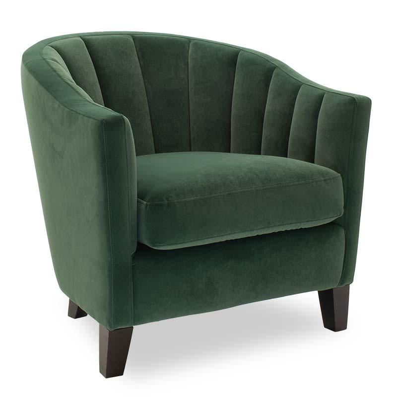 Πολυθρόνα Boca pakoworld με ύφασμα βελουτέ χρώμα σκούρο πράσινο 74x80x73εκ