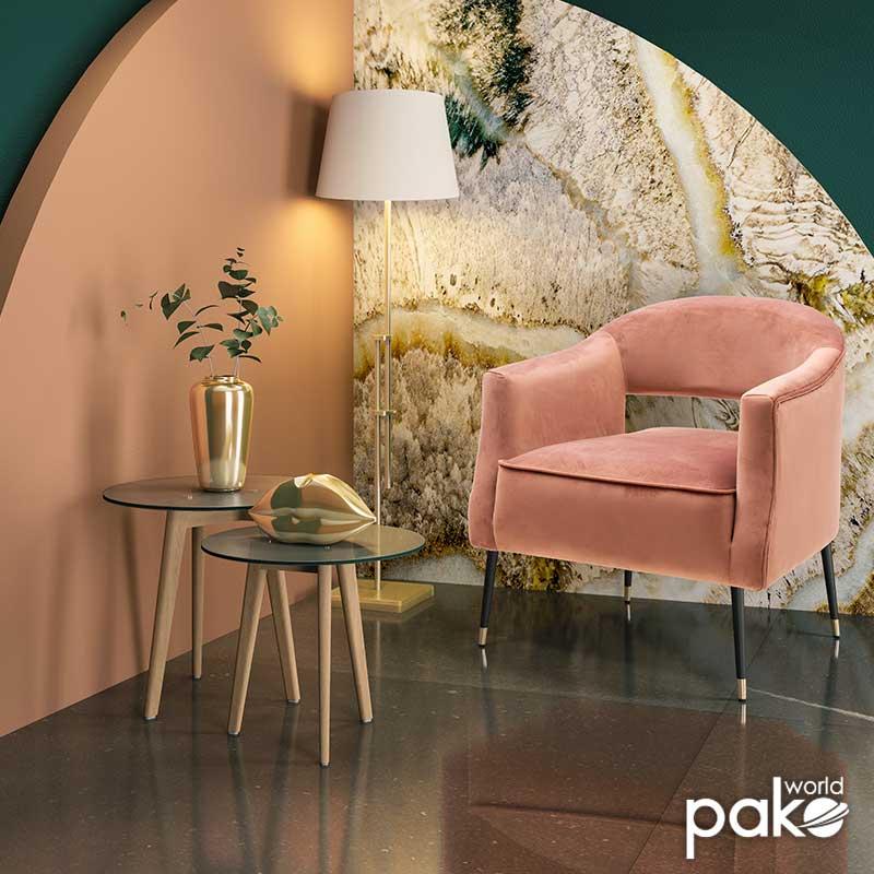 Πολυθρόνα Papi pakoworld με βελούδο χρώμα σάπιο μήλο 70x74x77εκ