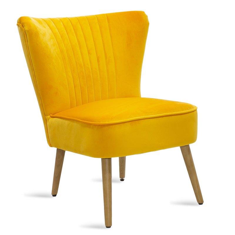 Πολυθρόνα Stork pakoworld με ύφασμα βελούδο χρώμα κίτρινο 68x54x78εκ