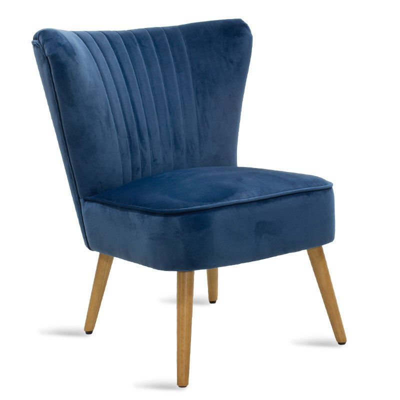 Πολυθρόνα Stork pakoworld με ύφασμα βελούδο χρώμα σκούρο μπλε 68x54x78εκ