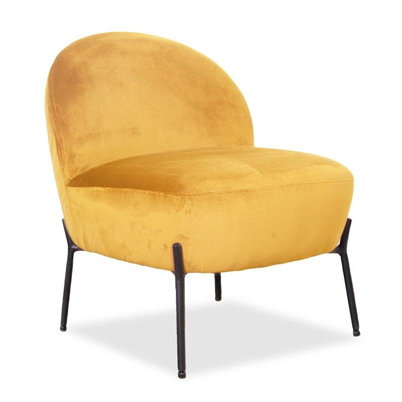 Πολυθρόνα Poet pakoworld βελούδο κίτρινο 54,5x65,5x66εκ