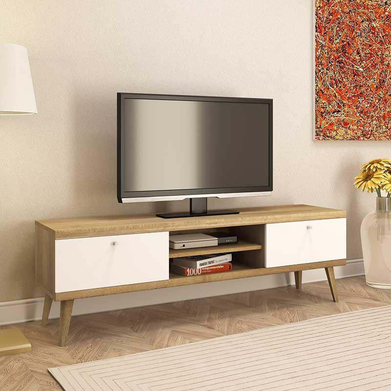 Έπιπλο τηλεόρασης Primo pakoworld χρώμα φυσικό - λευκό 160x40x50εκ