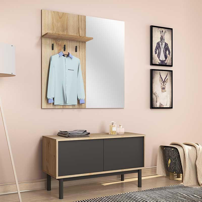 Έπιπλο εισόδου Πορτ-Μαντώ Basic pakoworld χρώμα φυσικό - μαύρο 104x39x57εκ