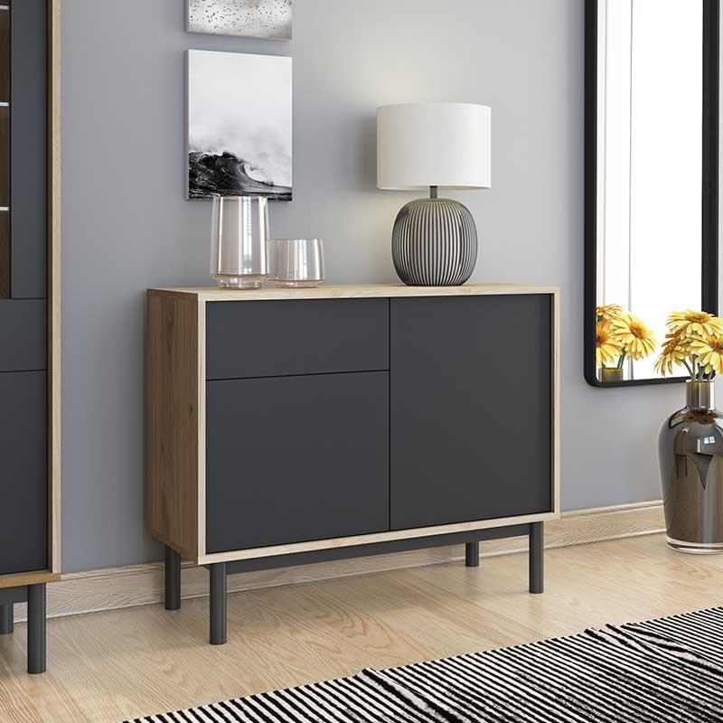 Μπουφές - κονσόλα Basic pakoworld χρώμα φυσικό - μαύρο 104x39x84εκ