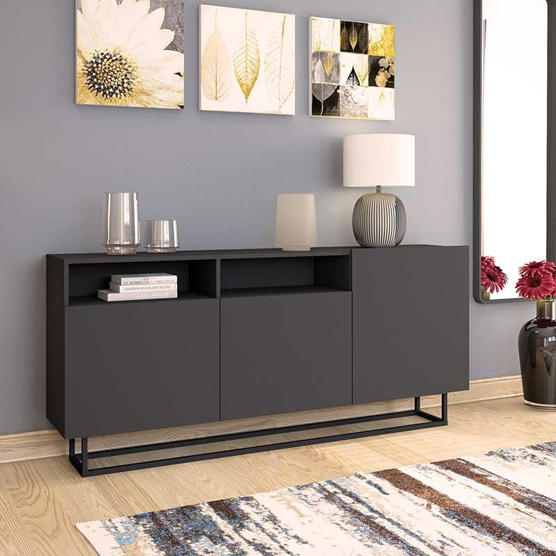 Μπουφές Enjoy pakoworld χρώμα ανθρακί με μαύρη μεταλλική βάση 180x35x80εκ