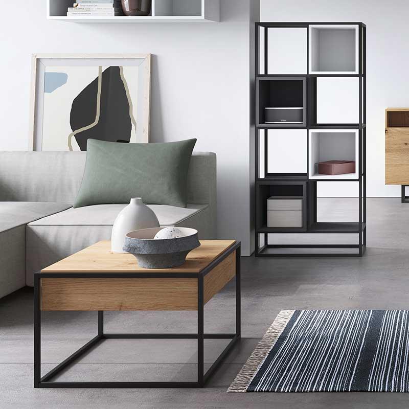 Τραπέζι σαλονιού Enjoy pakoworld με συρτάρι χρώμα φυσικό 60x60x42εκ