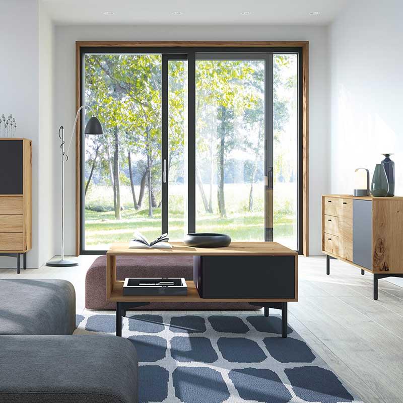 Τραπέζι σαλονιού Flow pakoworld χρώμα φυσικό - μαύρο 102x68x46εκ