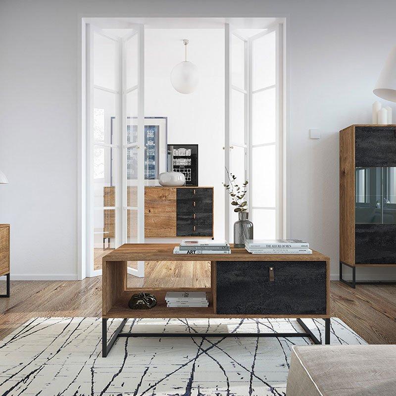 Τραπέζι σαλονιού Dark pakoworld χρώμα καρυδί - μαύρο antique 104x68x44εκ