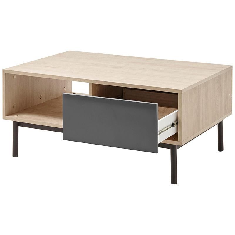 Τραπέζι σαλονιού Basic pakoworld χρώμα φυσικό - ανθρακί 104x68x47εκ