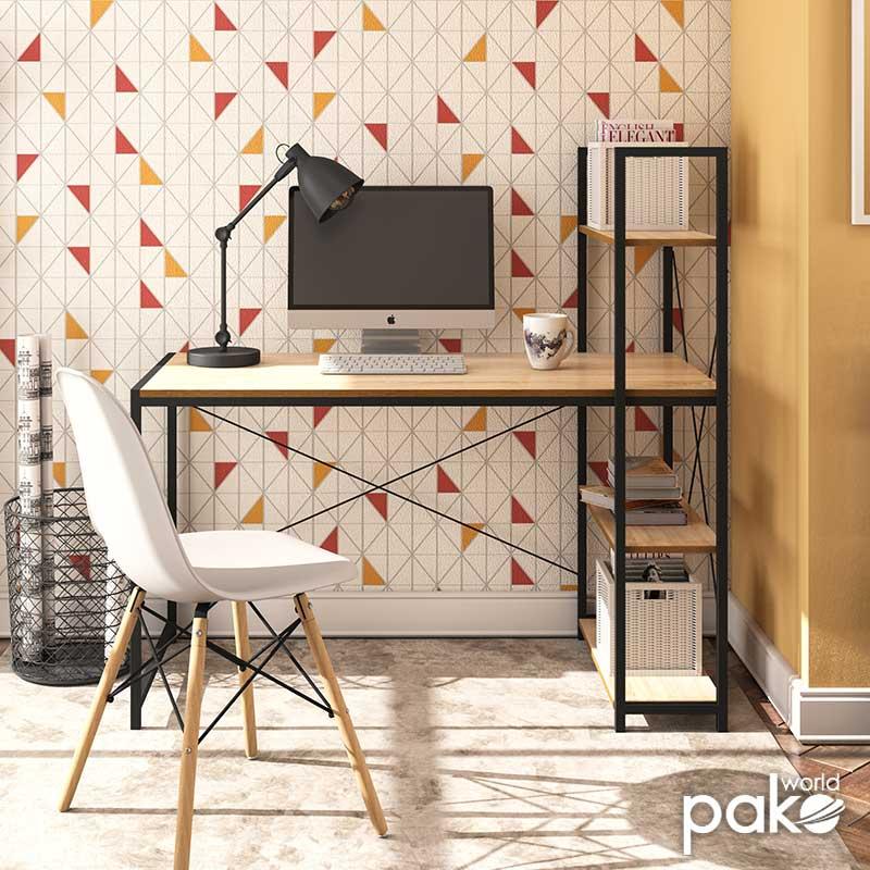 Γραφείο εργασίας Ramon pakoworld με ραφιέρα χρώμα φυσικό - μαύρο 122x64x120εκ