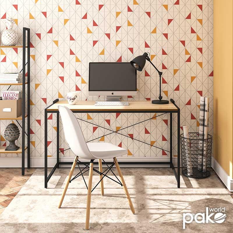 Γραφείο εργασίας Ramon pakoworld χρώμα φυσικό - μαύρο 120x60,5x70εκ
