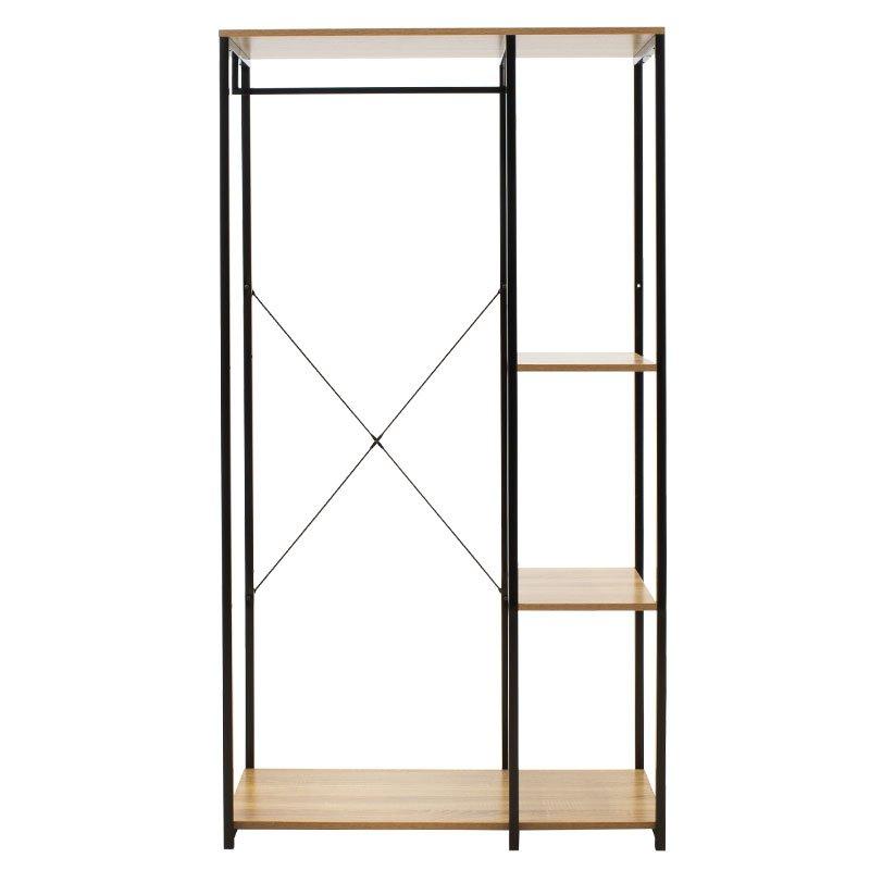 Έπιπλο εισόδου-ντουλάπα Ramon pakoworld χρώμα φυσικό - μαύρο 90,5x41x167εκ
