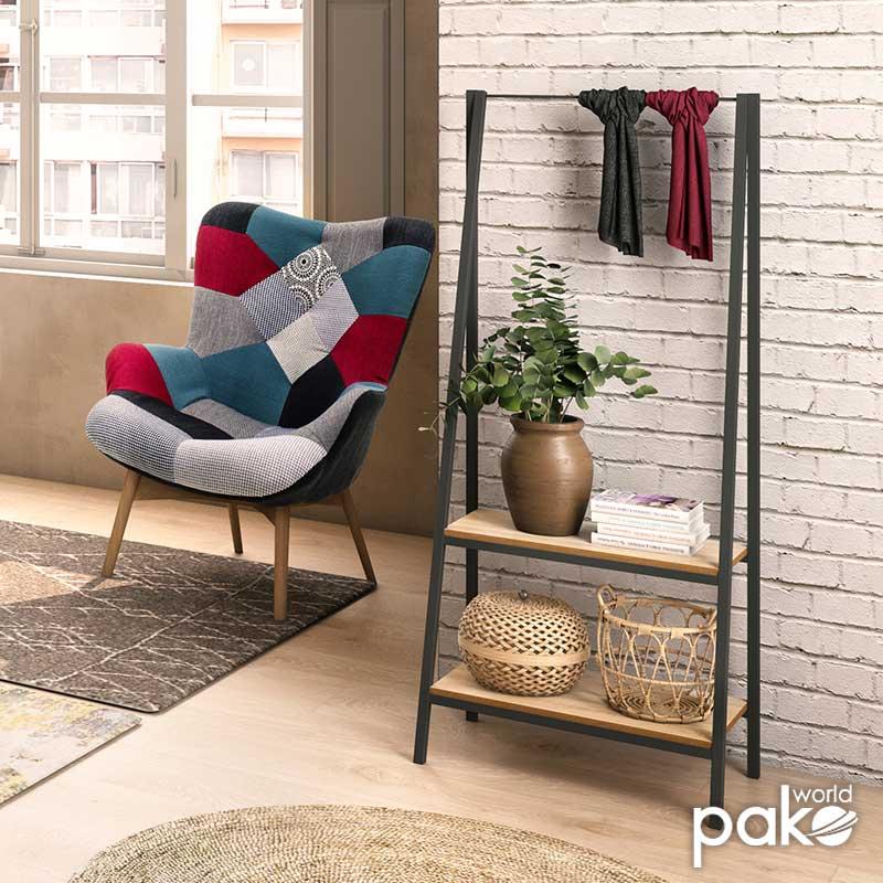 Έπιπλο εισόδου Ramon pakoworld χρώμα φυσικό - μαύρο 64x37,5x150εκ