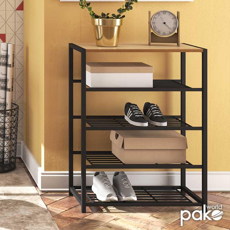 Παπουτσοθήκη Ramon pakoworld 12 ζευγών χρώμα φυσικό - μαύρο 63x30x83εκ