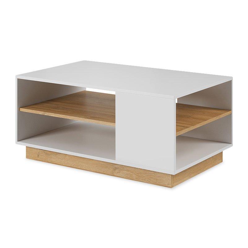 Τραπέζι σαλονιού Arco pakoworld χρώμα λευκό-φυσικό 100x60x45,5εκ