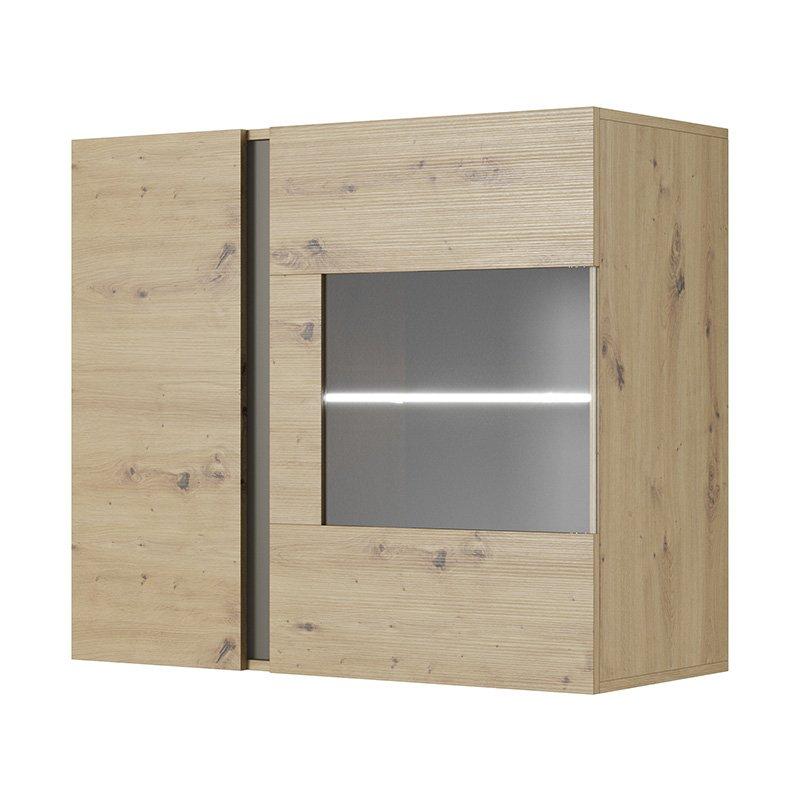 Βιτρίνα κρεμαστή Arco pakoworld χρώμα sonoma-ανθρακί 96,5x40x82,5εκ