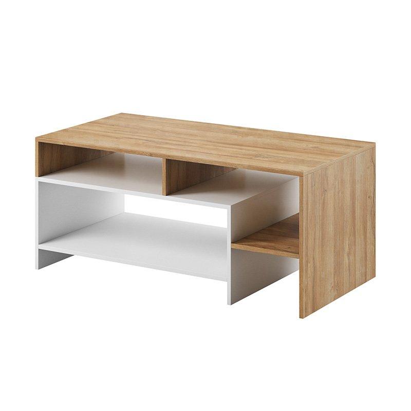 Τραπέζι σαλονιού Alva pakoworld χρώμα καρυδί-λευκό 120x60x53εκ