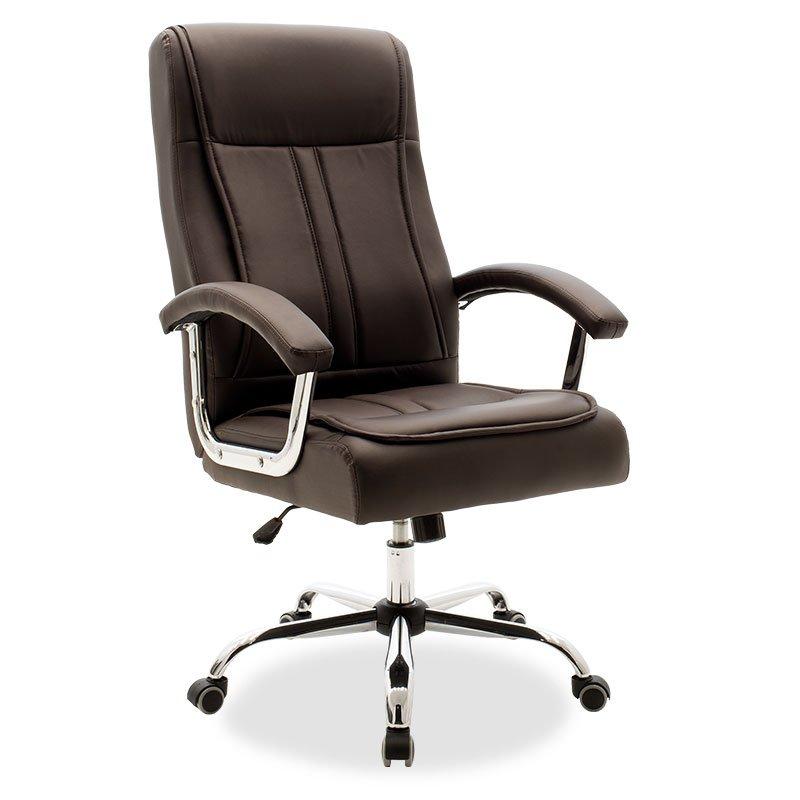 Καρέκλα γραφείου διευθυντή Legent pakoworld με pu χρώμα σκούρο καφέ