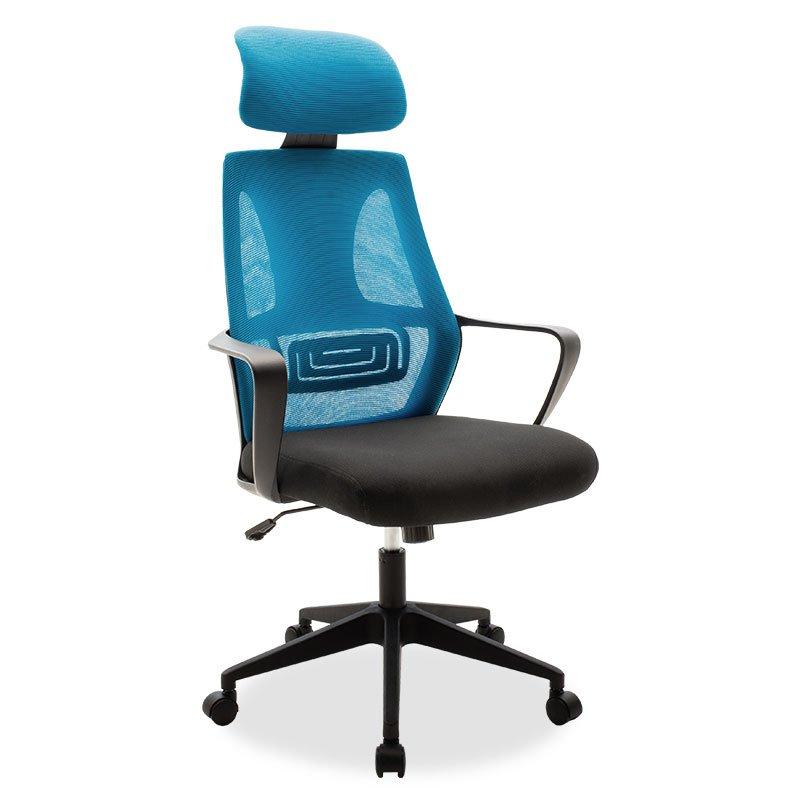 Καρέκλα γραφείου διευθυντή Dolphin pakoworld με ύφασμα mesh χρώμα μαύρο-μπλε