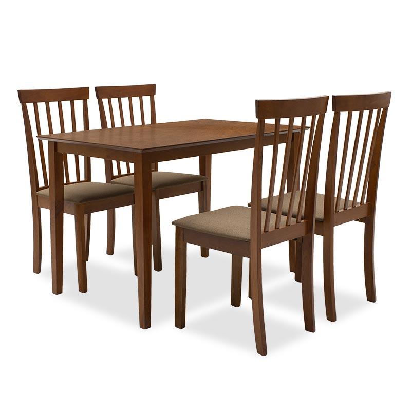 Tραπεζαρία Nilda pakoworld σετ 5τμχ καρυδί χρώμα - κάθισμα καφέ 112x72x74εκ