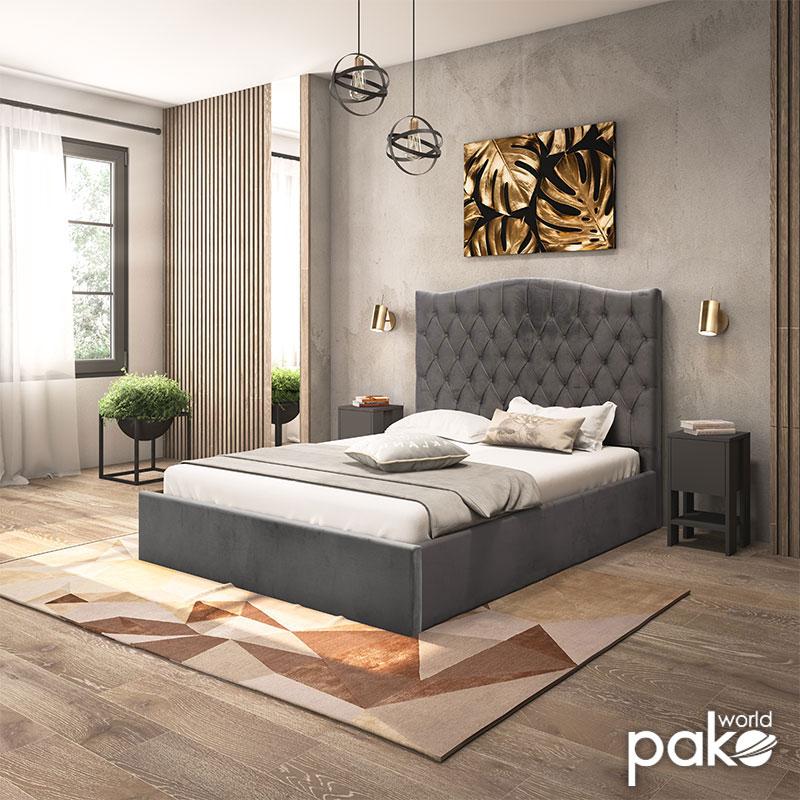 Dubai pakoworld διπλό 150x200εκ βελούδο γκρι