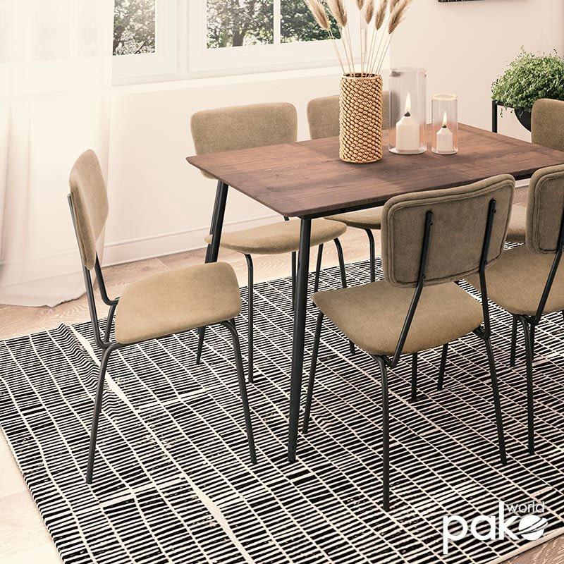 Καρέκλα Tania pakoworld μαύρο-ύφασμα μπεζ
