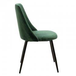 Καρέκλα Giselle pakoworld μαύρο-ύφασμα βελουτέ πράσινο