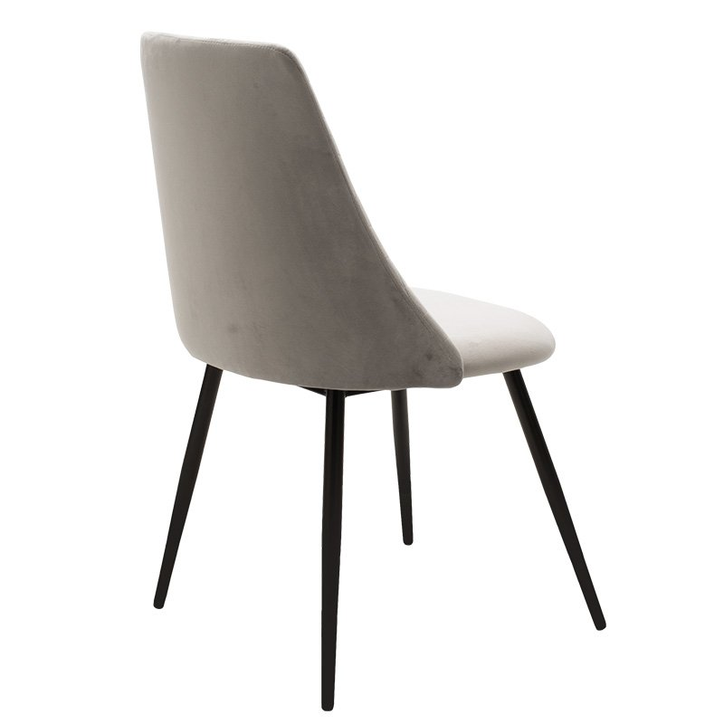 Καρέκλα Giselle pakoworld μαύρο-ύφασμα βελουτέ γκρι