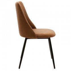 Καρέκλα Giselle pakoworld μαύρο-ύφασμα βελουτέ καφέ