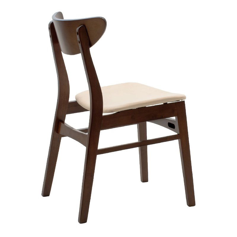 Καρέκλα Adoree pakoworld ξύλο rubber wood καρυδί-ύφασμα μπεζ
