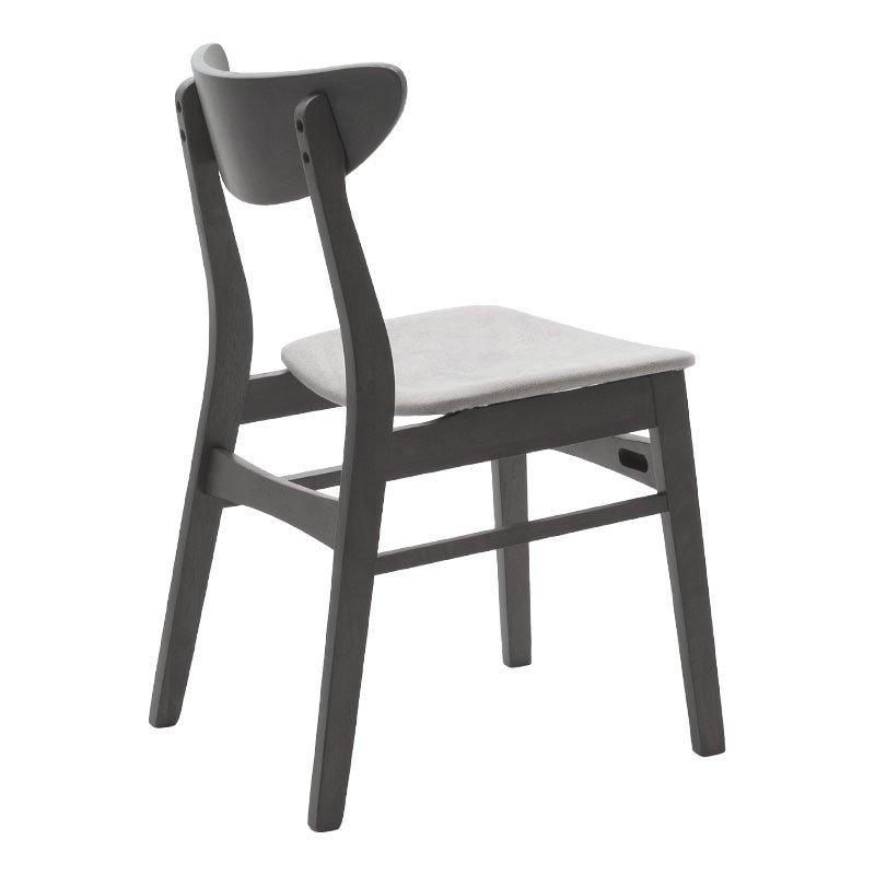 Καρέκλα Adoree pakoworld ξύλο rubber wood rustic grey-ύφασμα γκρι
