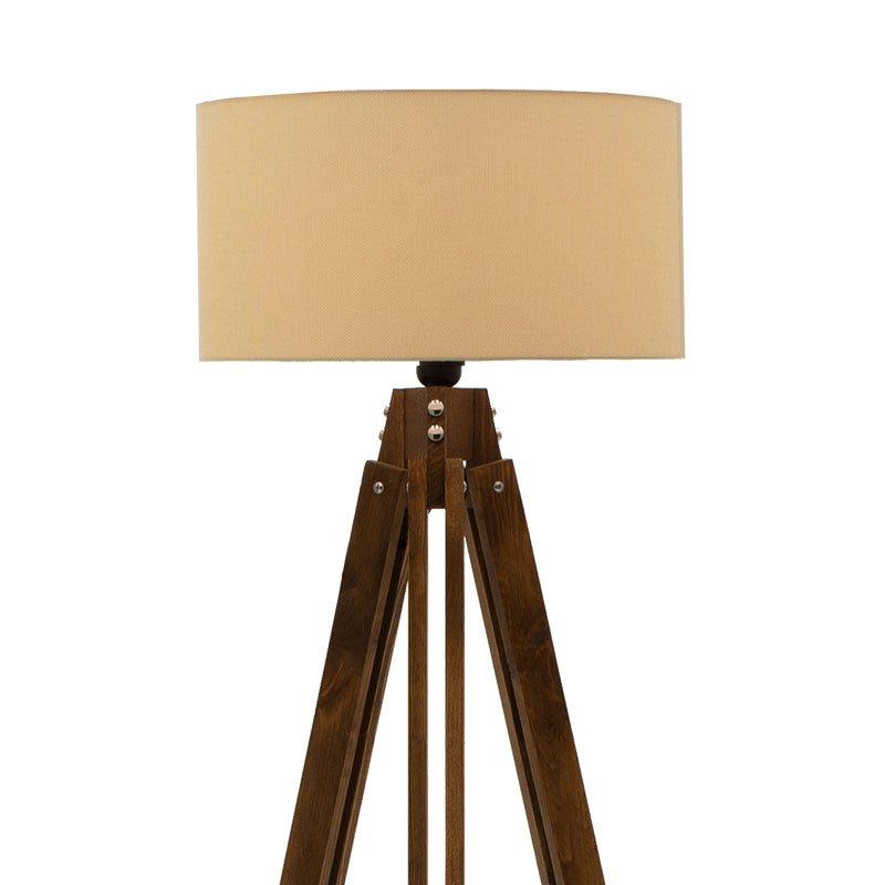 Φωτιστικό δαπέδου PWL-0112 pakoworld E27 ξύλο καρυδί - καπέλο εκρού Φ40x62x155,5εκ