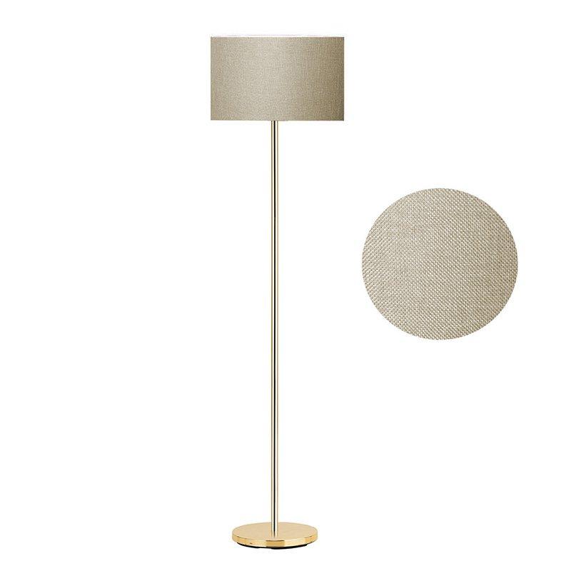 Μεταλλικό φωτιστικό δαπέδου PWL-0137 pakoworld E27 χρυσό-pvc καπέλο λαδί Φ30x150εκ