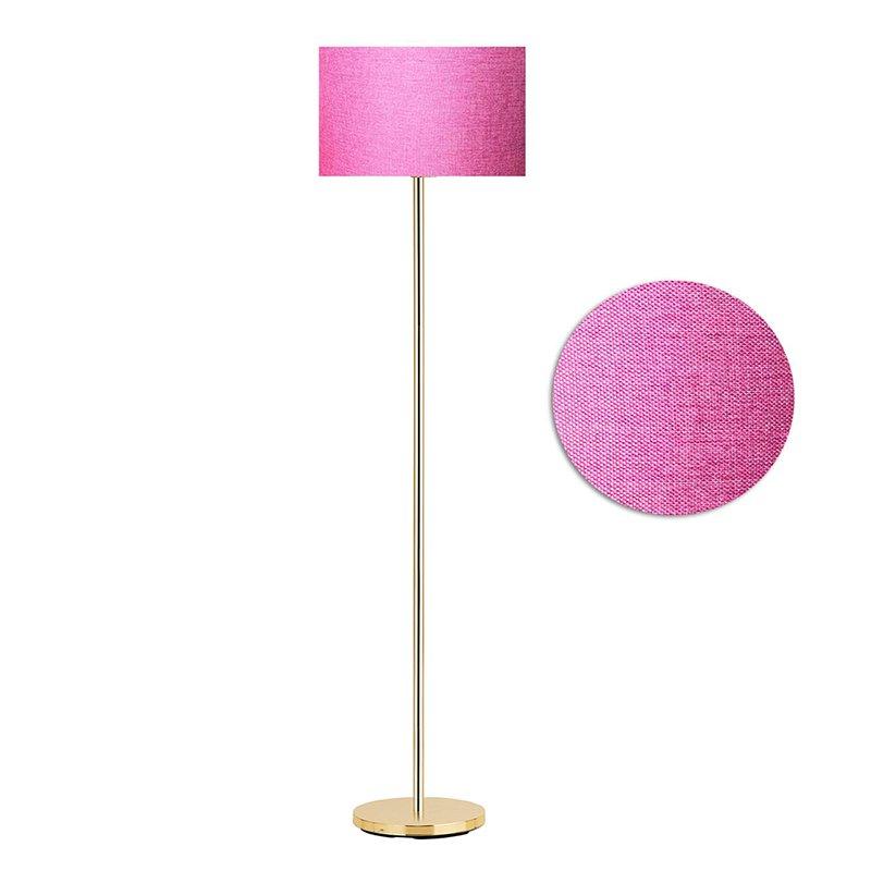 Μεταλλικό φωτιστικό δαπέδου PWL-0137 pakoworld E27 χρυσό-pvc καπέλο σκούρο ροζ Φ30x150εκ