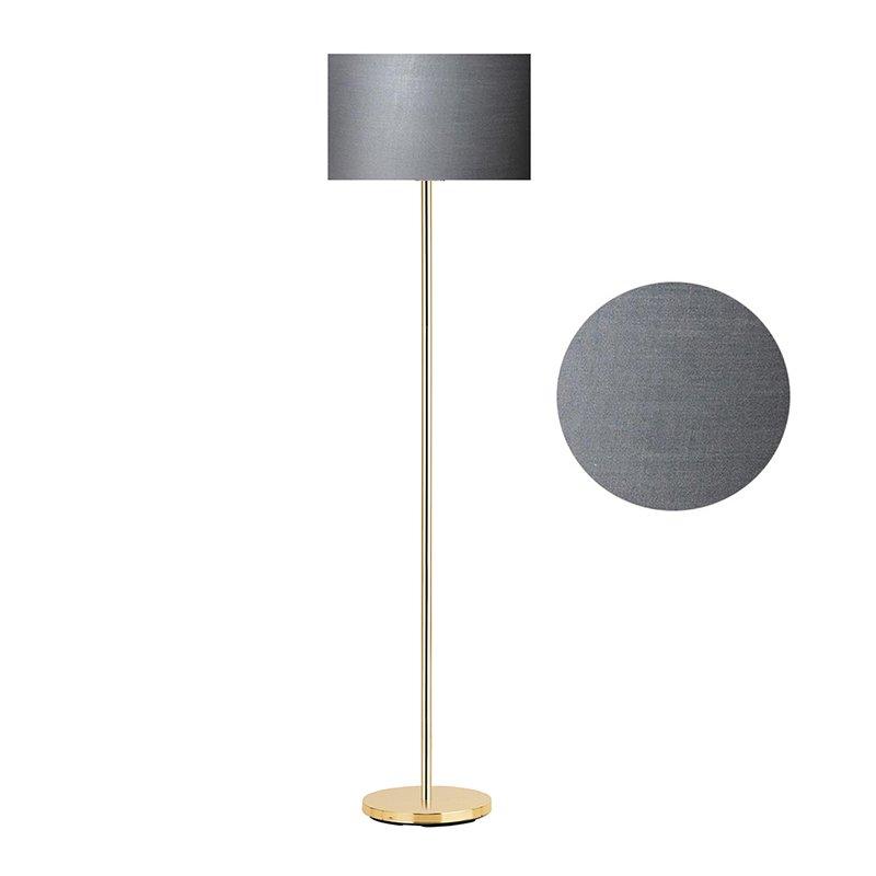 Μεταλλικό φωτιστικό δαπέδου PWL-0137 pakoworld E27 χρυσό-pvc καπέλο ανθρακί Φ30x150εκ