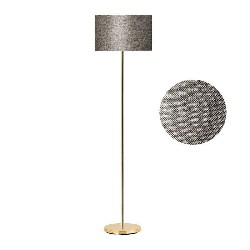 Μεταλλικό φωτιστικό δαπέδου PWL-0137 pakoworld E27 χρυσό-pvc καπέλο γκρι-καφέ Φ30x150εκ