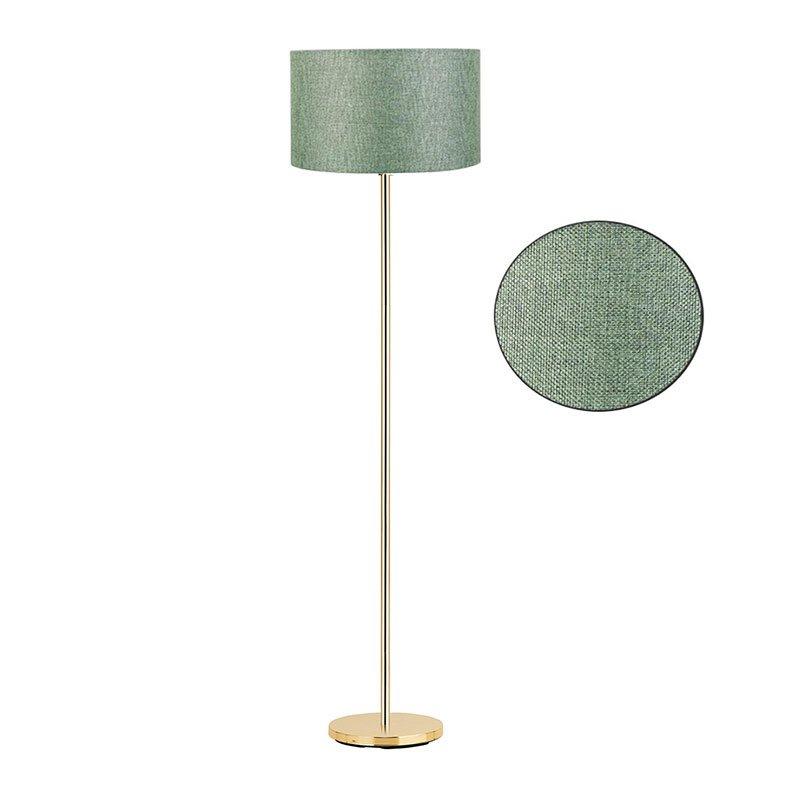 Μεταλλικό φωτιστικό δαπέδου PWL-0137 pakoworld E27 χρυσό-pvc καπέλο πράσινο Φ30x150εκ