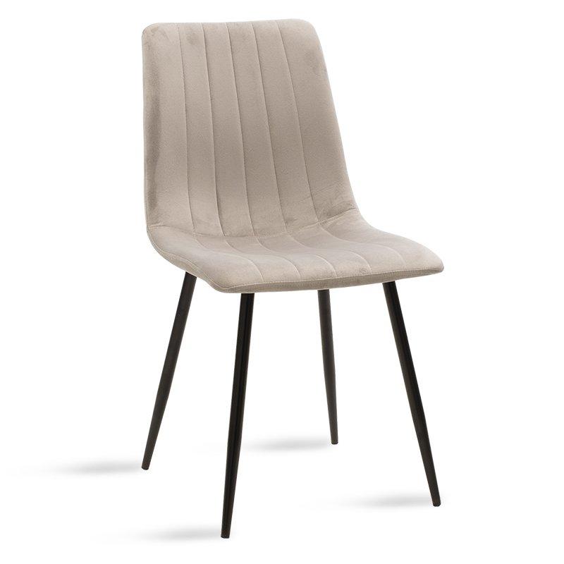 Καρέκλα Noor pakoworld μεταλλική μαύρη με βελούδο γκρι