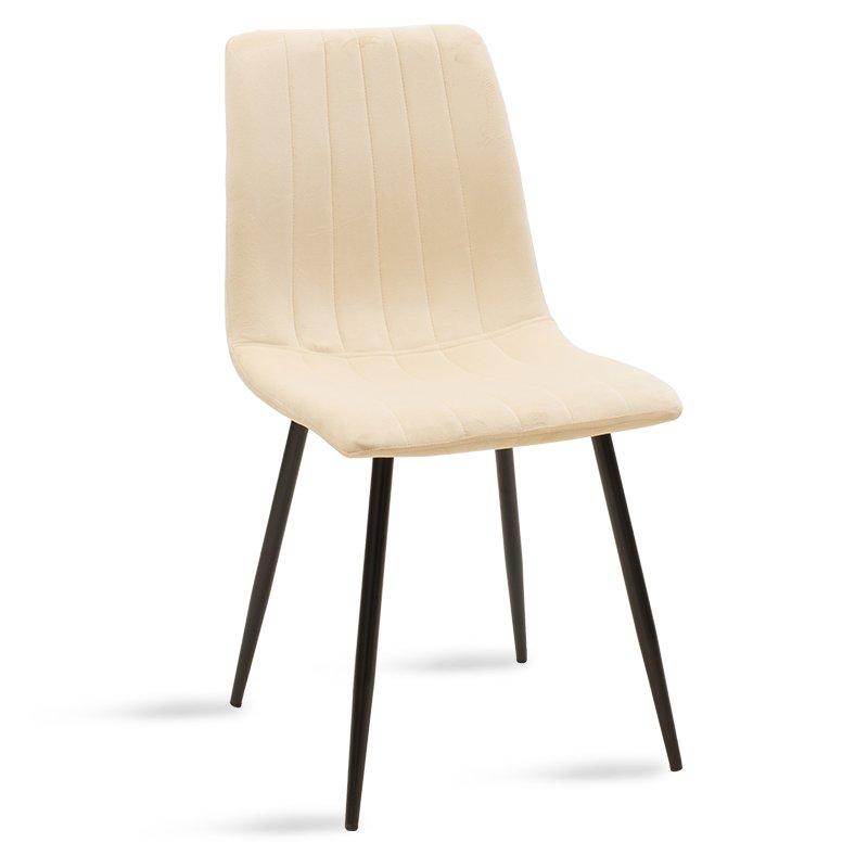 Καρέκλα Noor pakoworld μεταλλική μαύρη με βελούδο  μπεζ